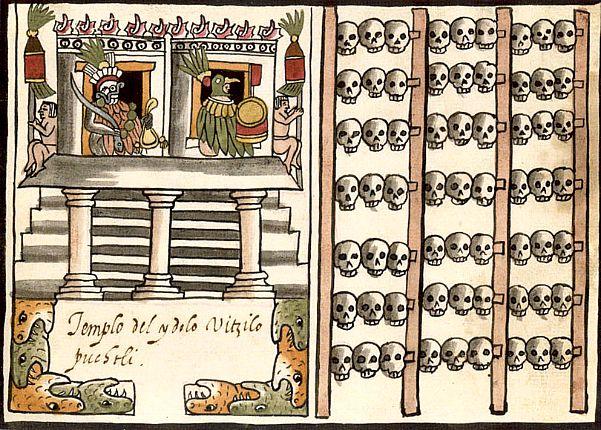 Tzompantli vinculado al Templo Mayor, Códice Ramírez. (Wikimedia Commons)