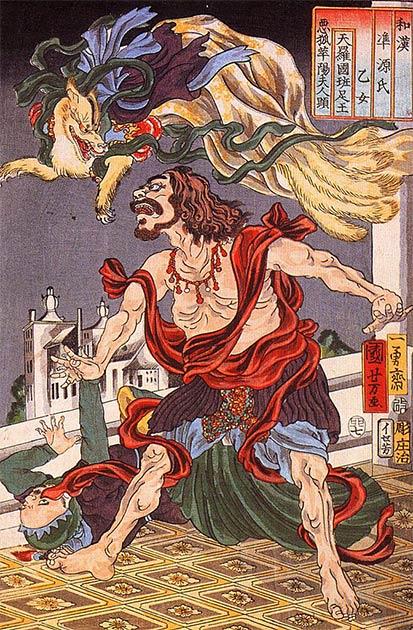 Príncipe Hanzoku aterrorizado por un zorro de nueve colas (Utagawa Kuniyoshi / Public domain)