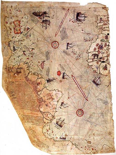 Mapa del mundo por el almirante otomano Piri Reis, dibujado en 1513 pero supuestamente basado en mapas mucho más antiguos. (Dominio publico)