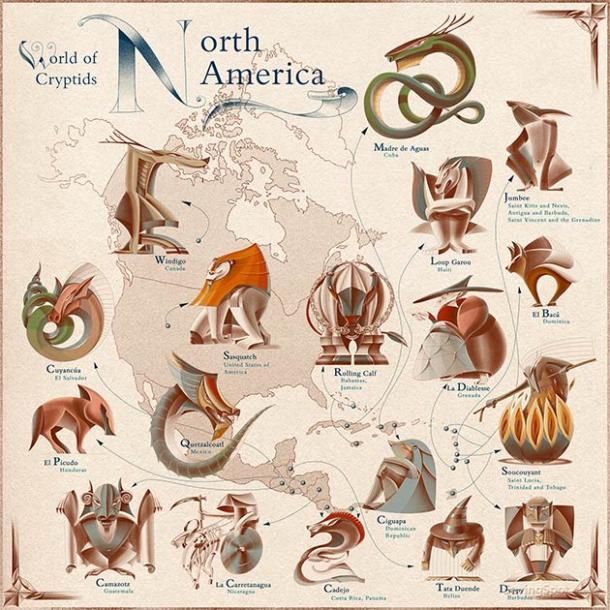 World of Cryptids: Mapa de América del Norte. (Laimute Varkalaite / SavingSpot)