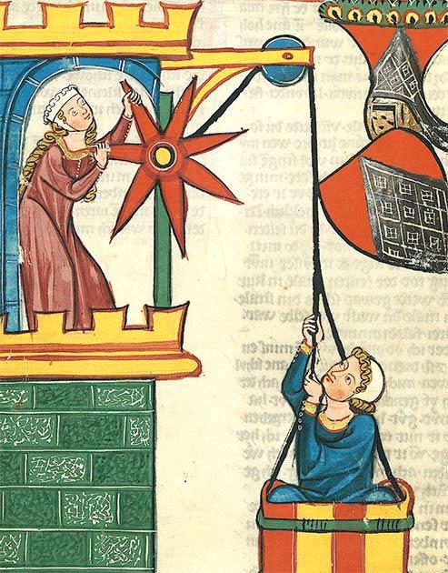 Hombre enamorado siendo elevado a su dama en una canasta, del Codex Manesse. (Dominio público)