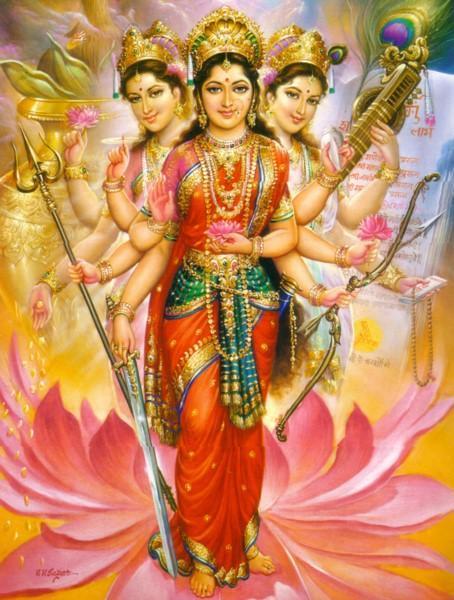Sarasvati, Parvati y Lakshmi, los Tridevi. (CC BY-SA 4.0)