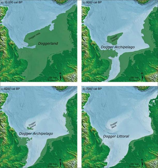 Reconstrucciones de la costa del Mar del Norte para: a) Doggerland c. 10.000 cal BP; b) Archipiélago Dogger c. 9000 cal BP; c) Archipiélago Dogger c. 8200 cal BP; d) Dogger Littoral c. 7000 cal BP. (Imagen de M. Muru / Walker et al., 2020 / Antiquity Publications Ltd)