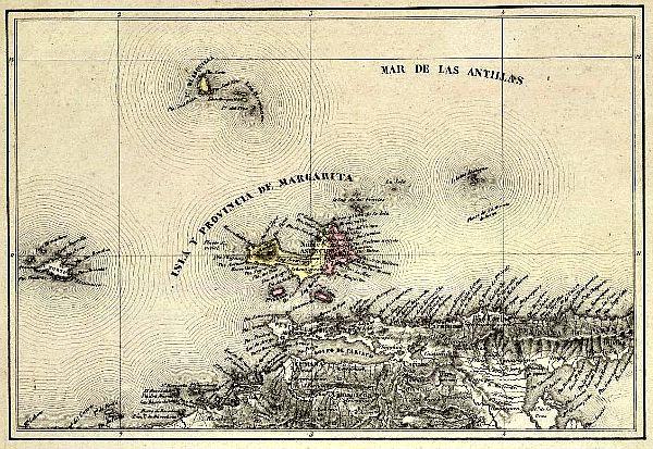 Mapa mostrando la situación de la pequeña isla de Cubagua (Wikimedia Commons)