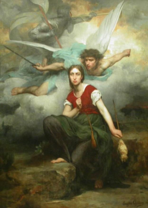 Juana de Arco, por Eugène Thirion (1876). El retrato muestra el asombro de Juana de Arco al recibir una visión del Arcángel Miguel. (Dominio público)