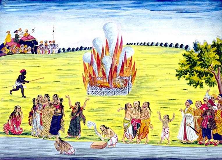 """Los cuadros realizados por artistas indios para los británicos en la India se denominan pinturas de la compañía. Éste representa la práctica de inmolación o quema de viudas. La palabra en sánscrito significa """"buena mujer"""" o """"verdadera esposa"""". Se aplicó a la viuda hindú que hace el sacrificio supremo siguiendo a su marido a la pira funeraria. (Dominio publico)"""