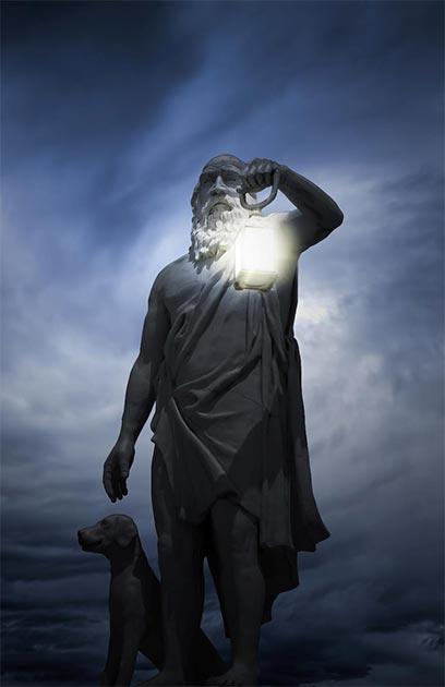 Escultura del filósofo cínico, Diógenes y un perro. (Sondem / Adobe Stock)