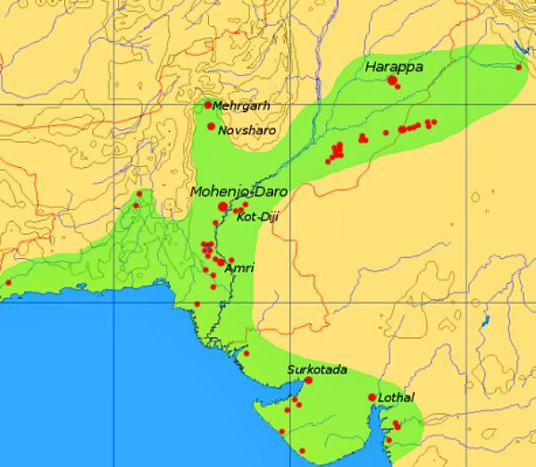 Mapa mostrando la señalización de las principales ciudades de la ancestral civilización del Valle del Indo donde nació el Tantra. (Wikimedia Commons)