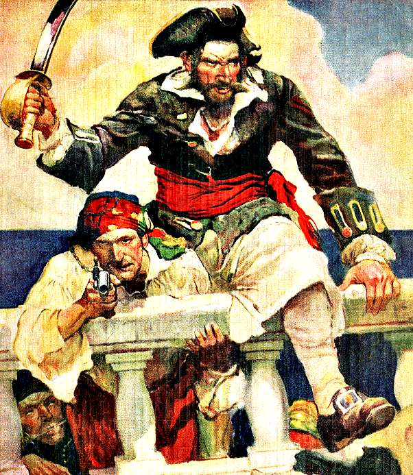 Ilustración del pirata Barbanegra abordando un navío (Wikimedia Commons)