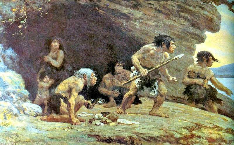 Ilustración de una familia neandertal obra de Charles R. Knight. (Wikimedia Commons)