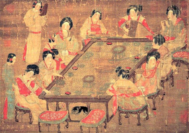 Concubinas de la corte imperial de la Dinastía Tang tomando té mientras algunas de ellas tocan flautas, pipas y otros instrumentos musicales. (Siglo IX) Museo Nacional de Formosa. (Public Domain)