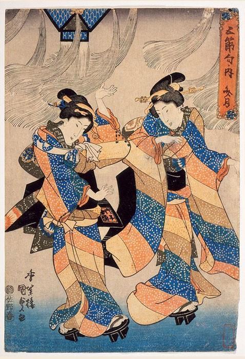 Danza del festival Tanabata, xilografía japonesa, década de 1830. (Dominio público)
