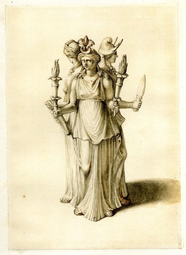 Representación de triple forma de la diosa griega Hécate. (Dominio público)