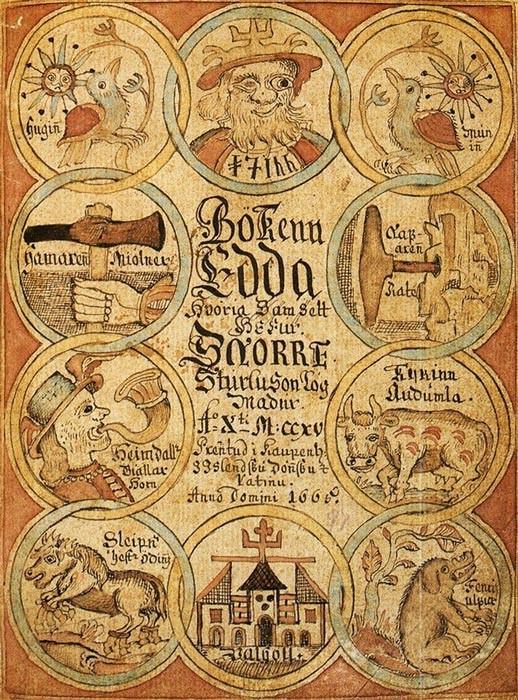 Página de título de un manuscrito de la prosa Edda del siglo XVIII, que muestra a Odin, Heimdallr, Sleipnir y otras figuras de la mitología nórdica. (Dominio público)
