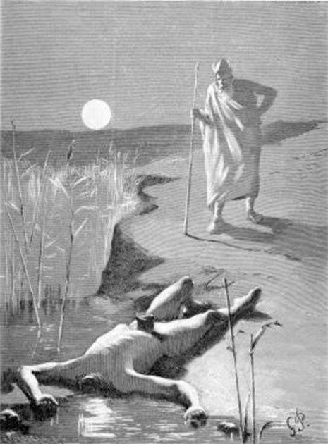 Odin encontrando el cuerpo decapitado de Mimir. (Dominio público)