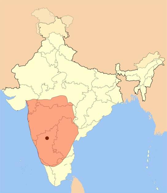 Mapa que muestra el área cubierta por el Imperio Badami Chalukya entre aproximadamente 636 d.C. y 740 d.C. (Mlpkr / CC BY-SA 3.0)