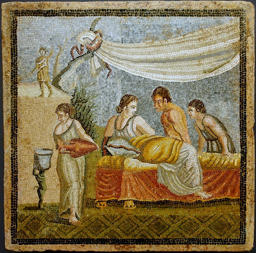 Mujeres de la antigua Roma. Escena romántica procedente de un mosaico de Villa Centocelle, Roma, 20 a. C. – 20 d. C. (Wikimedia Commons)