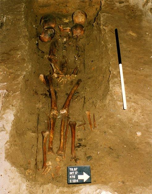 El jefe de seis cabezas fue descubierto dentro de un entierro escocés medieval. (Herencia FAS)