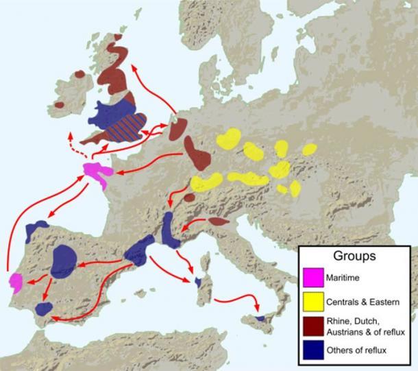 Difusiones tempranas de la cultura Bell Beaker alrededor del 2800 a. C. (Fulvio314 / CC BY-SA 3.0)