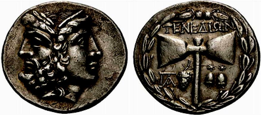 Zeus y Hera acuñados sobre una moneda con el símbolo de la doble hacha de Zeus acuñado sobre su reverso. (Fotografía de Exekias/Wikimedia Commons)