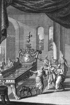 Ilustración de la supuesta cama gigante de Og (grabado circa 1770). Public Domain