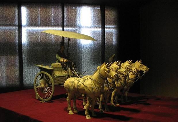 Conductor, caballos y carro de bronce descubiertos en el complejo de la necrópolis del Emperador Qin Shi Huang. Wikimedia Commons