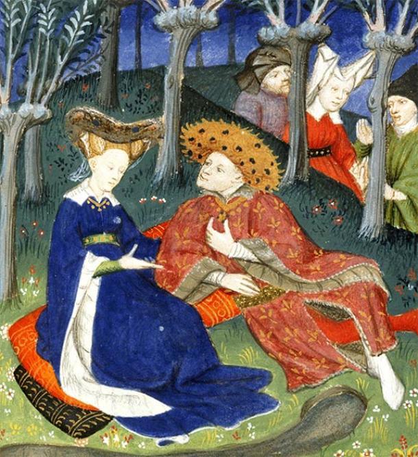 Duque medieval y damas en un jardín. (Biblioteca Británica / CC0)