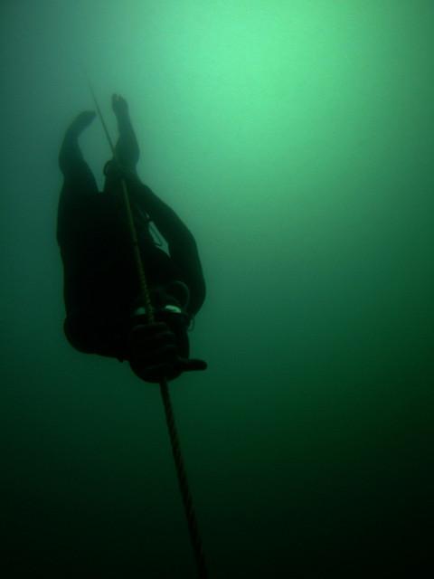 Un buceador a pulmón libre sumergiéndose en las profundidades. (Jayhem/CC BY 2.0)