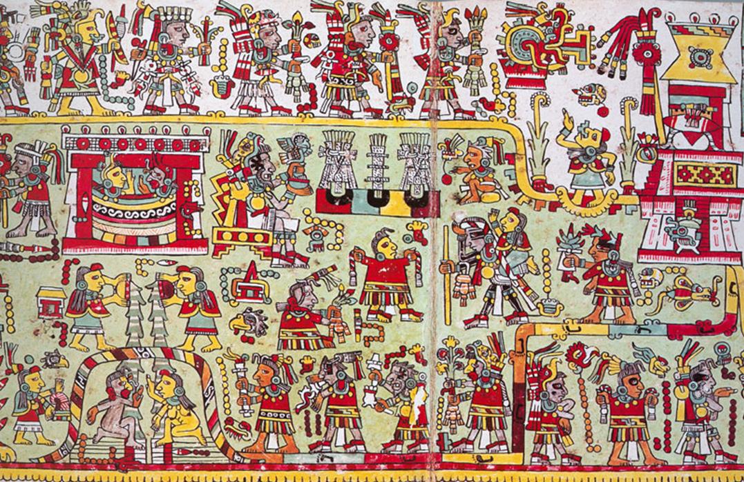 Boda de 3-Sílex y de12-Viento del Códice Mixteco Zouche-Nutall (Imagen procedente de Mexico Lore)
