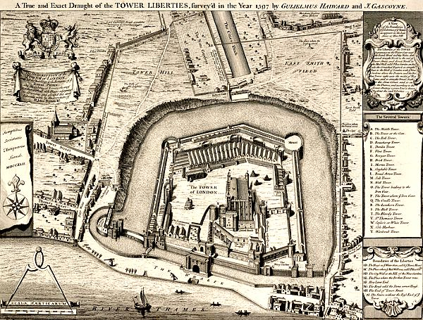 Plano de la Torre de Londres del año 1597 (Wikimedia Commons)
