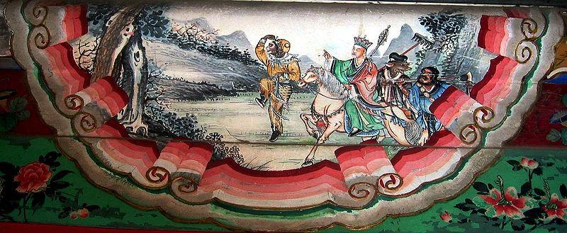 Pintura de una escena de Viaje al Oeste en la que aparecen sus cuatro protagonistas: Sun Wukong, Xuanzang, Zhu Wuneng y Sha Wujing. Palacio de Verano, Pekín, China (Rolf Müller/Wikimedia Commons)