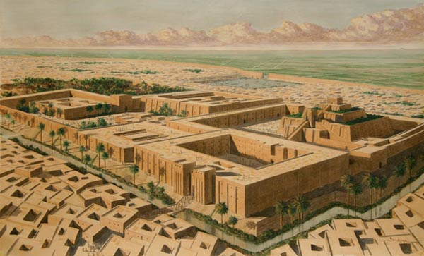 Reconstrucción artística de la ciudad Sumeria de Ur (Kings Academy)