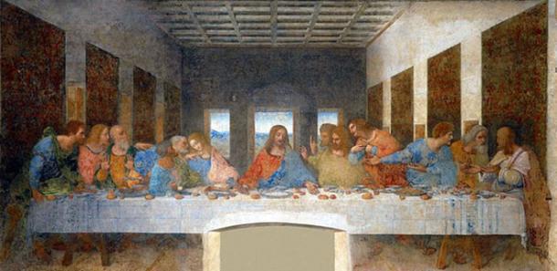"""La Última Cena, de Leonardo da Vinci (Wikimedia). En la novela """"El Código Da Vinci"""", Dan Brown interpreta que la figura junto a la mano derecha de Jesús es María Magdalena."""