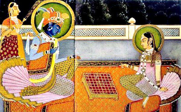 Krishna y Radha jugando a una versión del ancestral Chaturanga. (Wikimedia Commons)