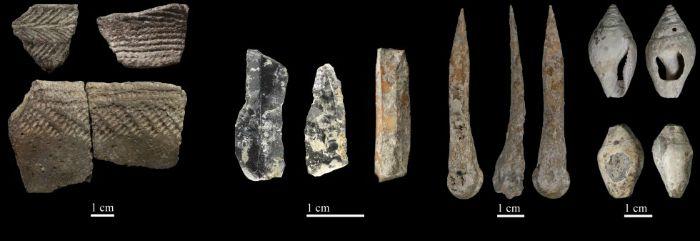 Algunos de los restos neolíticos hallados en la Cova Bonica de Vallirana, Barcelona. (Fotografía de JOAN DAURA Y MONTSERRAT SANZ / El País)