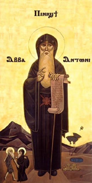 Icono copto de San Antonio del Desierto, un asceta cristiano primitivo. (Dominio público) El ascetismo cristiano temprano puede haber sido influenciado por el cinismo.