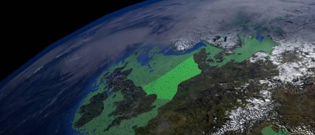 Imagen captada por satélite de la ubicación de Doggerland (en verde brillante) (Universidad de Bradford)