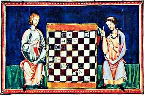 """Problema de ajedrez nº 35 del """"Libro de los juegos"""", códice compuesto por el Rey Alfonso X El Sabio. (Wikimedia Commons)"""