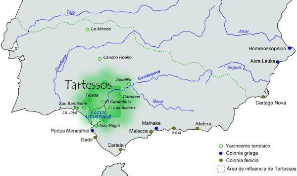 Área aproximada de extensión e influencia de la civilización de Tartessos.(Wikimedia Commons)