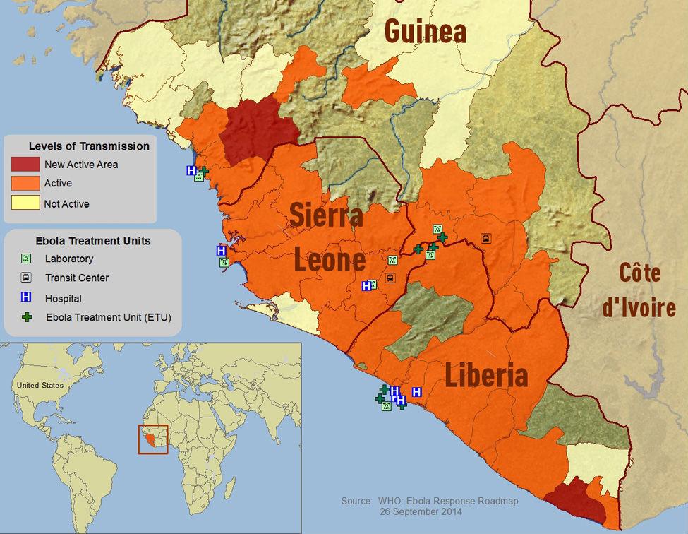Mapade la extensión del Ébola en Liberia y Sierra Leona desde julio de 2014 (Wikimedia Commons)