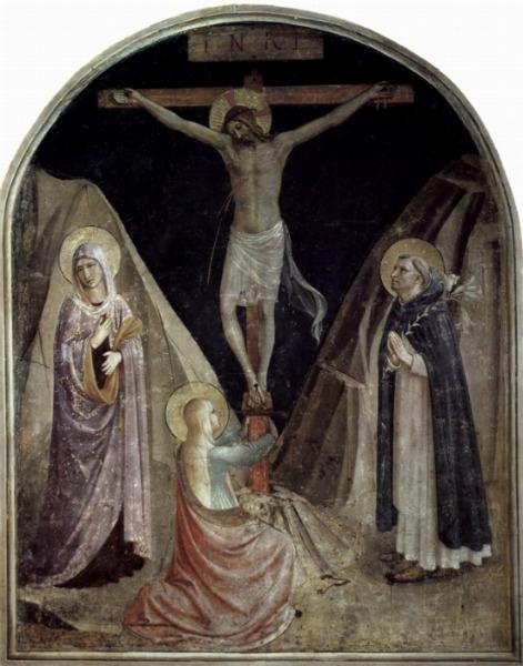En esta pintura de Fra Angelico, María madre de Jesús y María Magdalena están al pie de la cruz, coincidiendo con la versión del Nuevo Testamento(Wikimedia Commons)