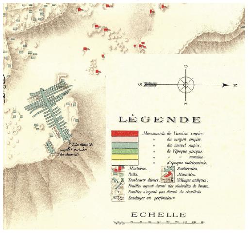 """mapa de Jacques de Morgan """"Carte de la Nécropole Memphite"""" que muestra las dos Catacumbas de los Perros, """"Tombe des chiens"""""""