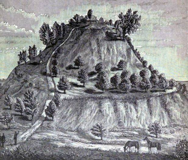 Un dibujo del Monks Mound (Montículo de los Monjes) de Cahokia en 1887, obra de William McAdams (Wikimedia Commons)
