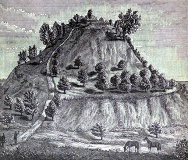 Un dibujo del Monks Mound (Montículo de los Monjes) de Cahokia en 1887, obra de William McAdams (Wikimedia Commons)