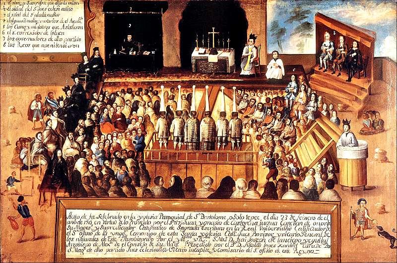Auto de fe en el pueblo mexicano de San Bartolomé Otzolotepec. Museo Nacional de Arte, México. Óleo sobre lienzo. (Wikimedia Commons)