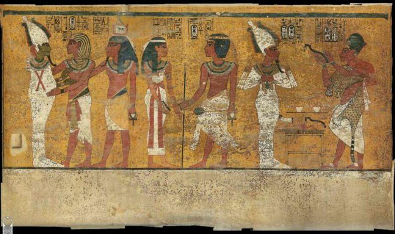 Mural decorativo de una de las paredes de la tumba de Tutankamón. (Fotografía: El Mundo)