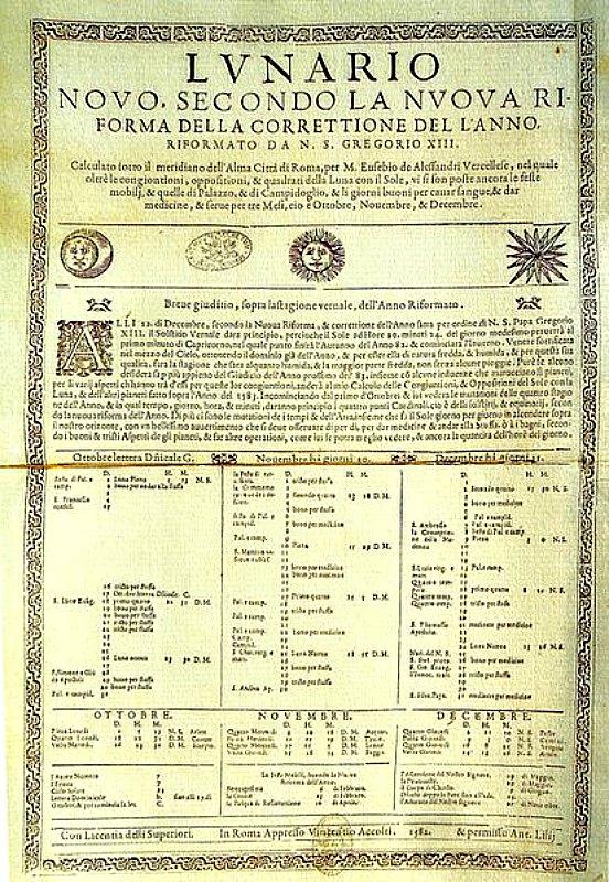Documento Oficial de la Reforma Gregoriana del Calendario (1582). Bibliotecas Vaticanas. (Public Domain)