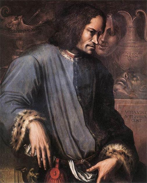 Varios estudiosos han argumentado que el Renacimiento comenzó en Florencia debido al papel de los mecenas ricos en la estimulación de las artes. Lorenzo de 'Medici, visto aquí en un cuadro de Giorgio Vasari, alentó el patrocinio de las artes como gobernante de Florencia. (Dominio público)