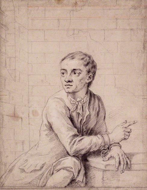 Boceto del ladrón Jack Sheppard del siglo XVIII poco antes de su ejecución en 1724. (Dominio público)