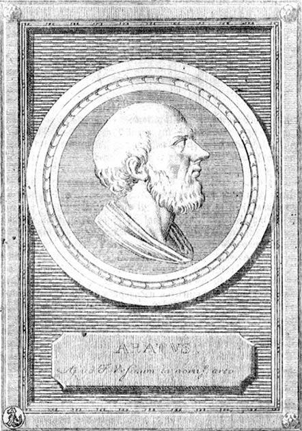 Una placa dedicada al antiguo poeta griego Aratus. (Dominio público)